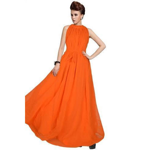 Ladies Stitched Plain Gown