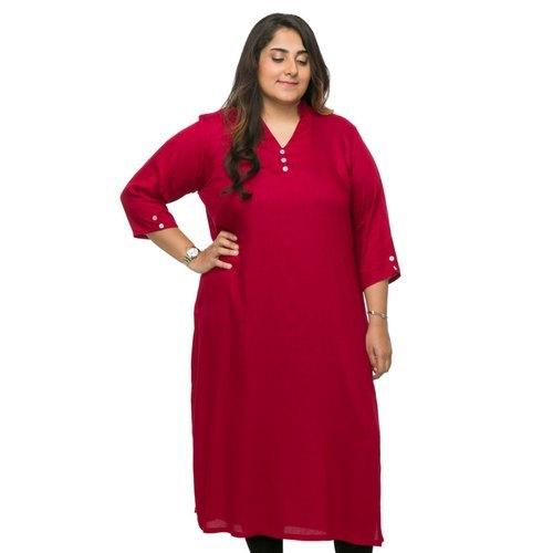 Plain Rayon Plus Size Women Kurti