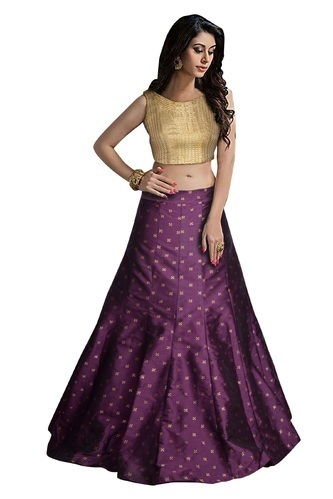 Semi-Stitched Purple Elegant Ladies Lehenga