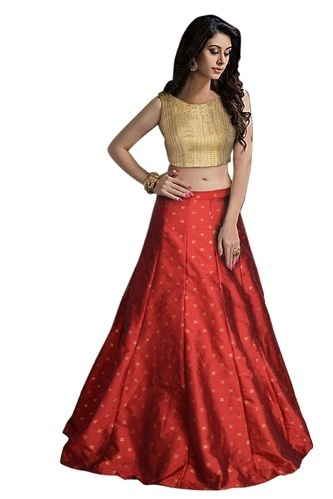 Semi-Stitched Red Elegant Ladies Lehenga