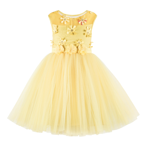 Kids Flower Applique Yellow Tutu Girls Party Wear Dress
