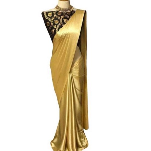 Plain Ladies Golden Silk Sarees at Price 5500 INR/Piece in Bengaluru | ID:  6228043