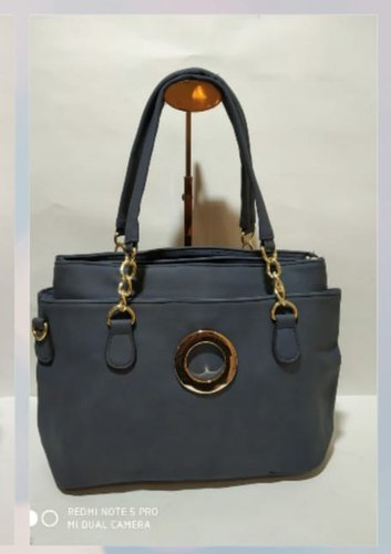 Pu Leather Plain Ladies Handbag