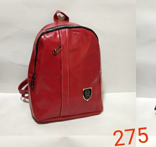 Red Leather Ladies Backpack