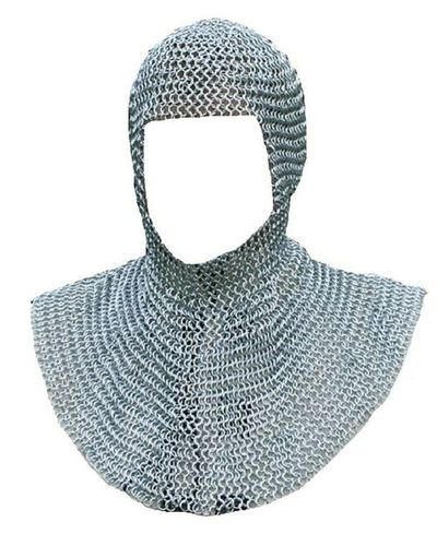 Anodized Finish 8mm Aluminium Butted Chainmail Coif