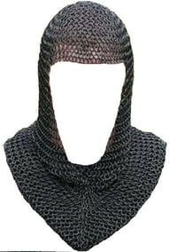 Black Finish 9mm Mild Steel Butted Chainmail Coif V Neck MedievalMail Armor Hea