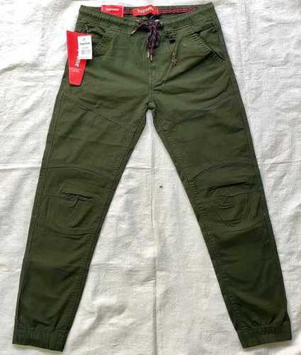 Green Olive Cotton Cargo Pants