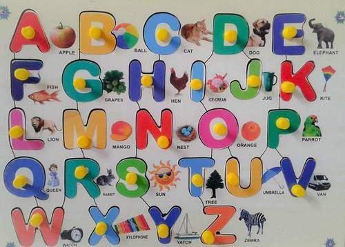 Wooden Multicolor Alphabet With Picture Age Group: 0-5