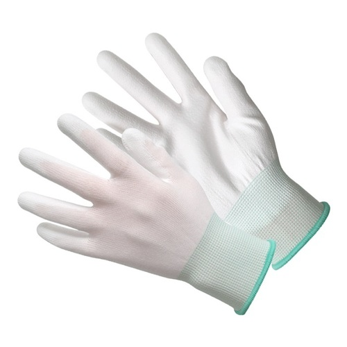 White Polyester PU Palm Coating Gloves
