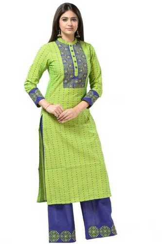 Breathable 3/4 Sleeves Green Color Cotton Ladies Kurti