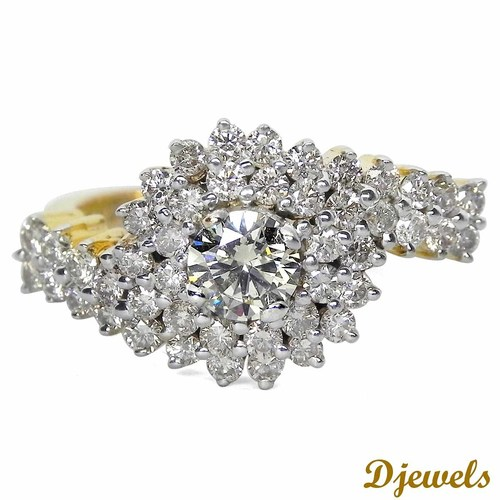 0.42 Ct. Natural Solitaire and 0.94 Ct. Real Diamond Studded Ladies Ring