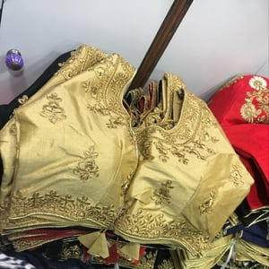 Polyester Fabrics Golden Color Ladies Blouse