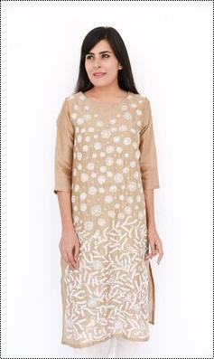 Brown Chanderi Kurti With Chikan Hand Embroidery