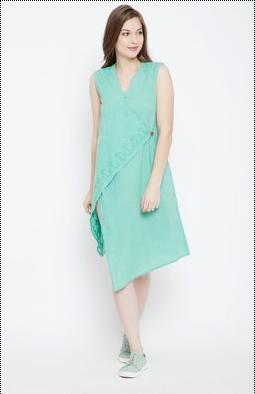 Green Cotton Kurti With Chikan Hand Embroidery