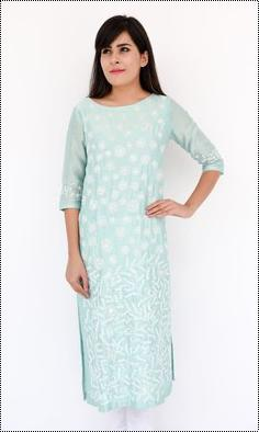 Light Blue Chanderi Kurti With Chikan Hand Embroidery