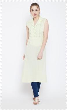 Light Green Cambric Cotton Kurti With Chikan Hand Embroidery