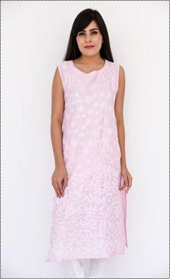 Light Pink Chanderi Kurti With Chikan Hand Embroidery