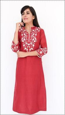 Red Cotton Silk Kurti With Zardozi Hand Embroidery
