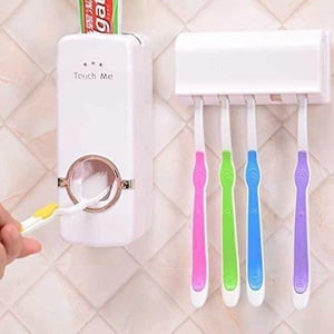 Hands Free Toothpaste Dispenser with 5 Toothbrush Holder
