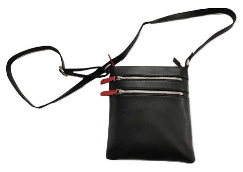 Genuine Leather Double Zipper Messenger Bag