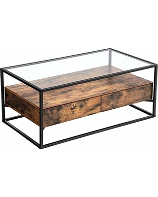 Classic Solid Wood Iron Frame Coffee Table