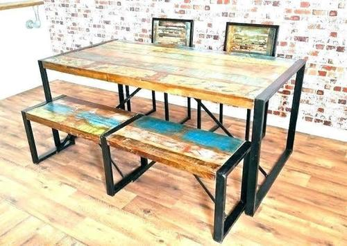 Traditional Reclaimed Solid Wood Dining Set
