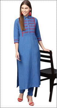Cotton Blue Yoke Design Ladies Kurta With Trousers