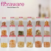 Floraware Kitchen Plastic Pink Colour Canister