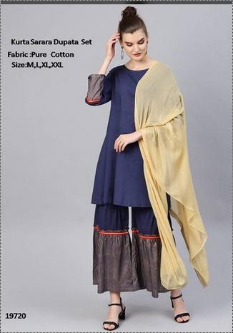 Women Cotton Kurta With Sharara Dupata