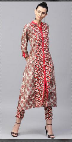 Brown And Red Women Printed Kurta With Trousers
