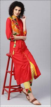 Cotton Yoke Design Ladies Kurta With Trousers