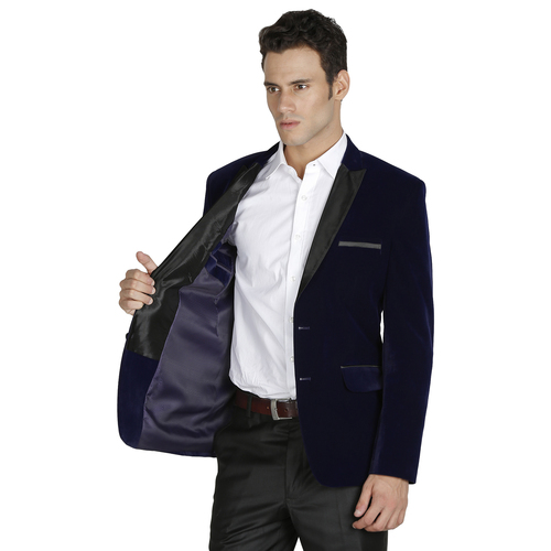 Men Blue Velvet Tuxedo Suit