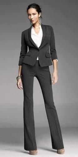 Women Stripe Pant Suit Set