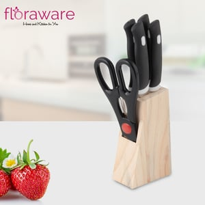 Floraware Kitchen Knife Set With Wooden Block