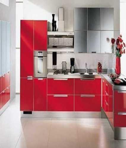 Pure Wood L Shaped Modular Kitchen