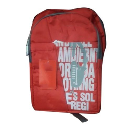 Polyester Red Printed School Bag