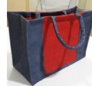 Red And Blue Combination Shopping Jute Bag - Size 16x14x6 Inch