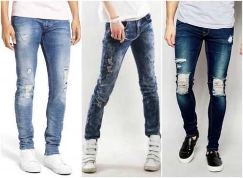 Shredded Washed Mens Casual Jeans