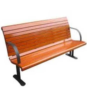 Wooden Park Bench with Arm Rest
