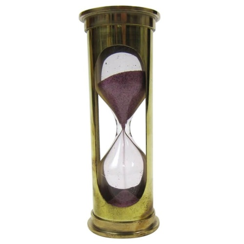 Brass 3-minute Hourglass Maroon Sand Timer
