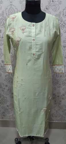 Ladies Embroidered Full Sleeves Cotton Kurti