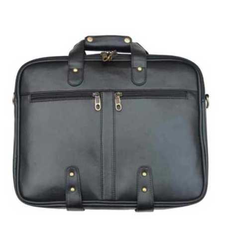 Plain Pure Leather Black Bags