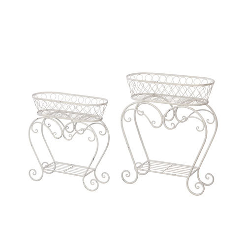 White Oblong Plant Stand Set of Two