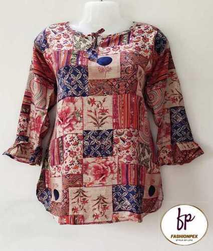Bell Sleeve Printed Rayon Women Top