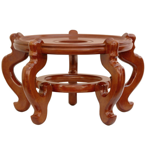 Honey Rosewood Wide Fishbowl Plant Stand