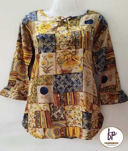 Ladies Bell Sleeve Printed Rayon Tops