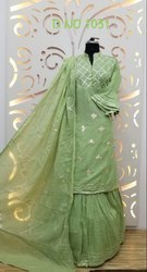Ladies Green Cotton Sharara Suit