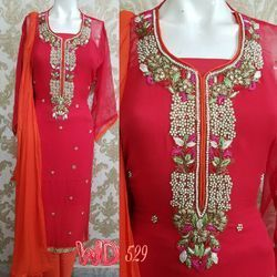 Red Georgette Hand Work Suits