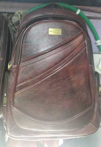 Brown Leather Office Backpack