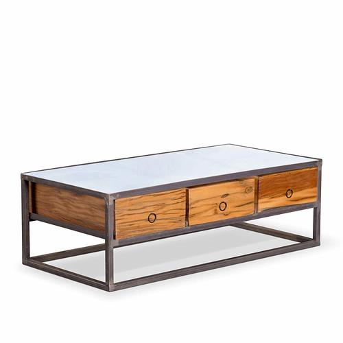 Classic Solid Wood And Metal Coffee Table